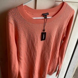 Express coral sweater w bling, pretty in person